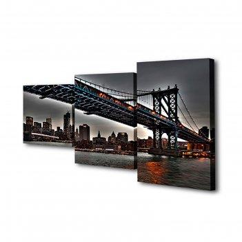Модульная картина на подрамнике мост на манхэттен, 26x50 см, 26x40 см, 26x