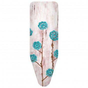 Чехол для гладильной доски ажурные цветы бирюзовые, 140х55 см, хлопок