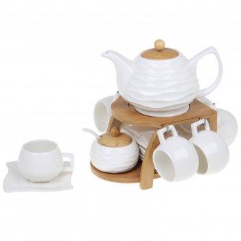 Сервиз кофейный 14 предметов эстет на деревянной подставке: кружки 150 мл,