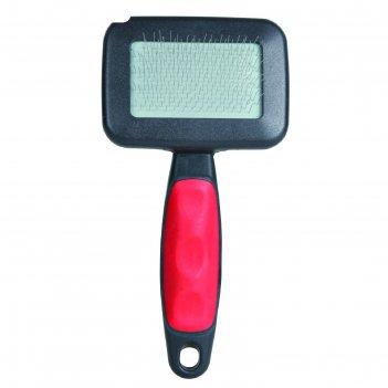 Щётка-пуходерка trixie мягкая 13.5 x 7 см с пластиковой ручкой + расчёска
