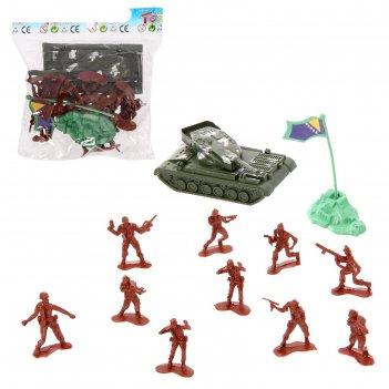 Набор солдатиков атака, с аксессуарами, с техникой, микс