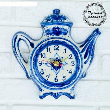Часы настенные чайник, гжель, фарфор, 23х23 см