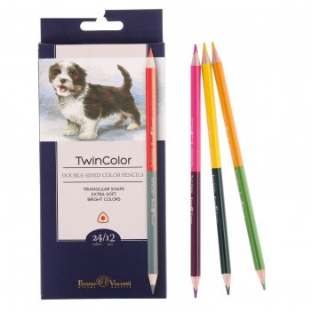 Карандаши 24 цвета, 12 штук, twincolor
