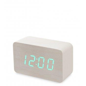 Ял-07-05/ 3 часы электронные сред. (белое дерево с зелёной подсветкой)