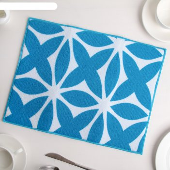 Коврик для сушки посуды 30x40 см призма, микрофибра, цвет голубой