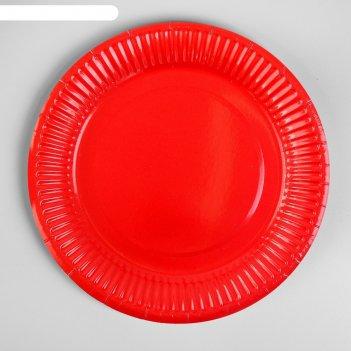 Тарелка бумажная однотонная, 18 см, набор 6 шт., цвет красный