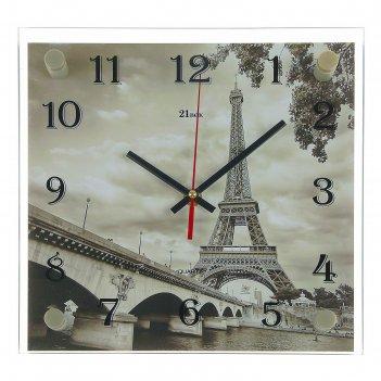 Часы настенные, серия: город, эйфелева башня, 25х25  см, микс