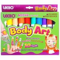 Мелки для тела body art, 10 цветов по 8 гр.