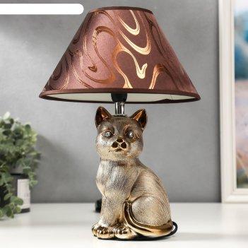 Лампа настольная 16279/1br+gd е14 40вт коричнево-золотой 25х25х34 см