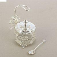 Сахарница с тюльпанами на ручке, серебро  u-5000ey/sl