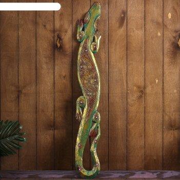Панно настенное геккон золотой 14х1х100 см