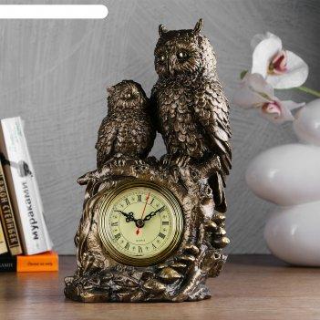 Часы настольные две совы, цвет золото