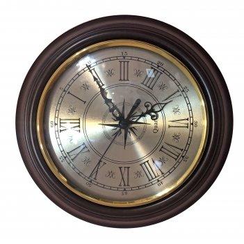 Настенные часы из массива дерева, тонированные, диаметр 25см