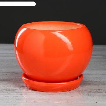 Горшок для цветов шар глазурь 2,5 л, оранжевый