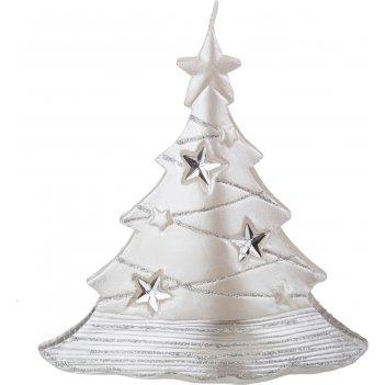 Свеча елочка белый металлик 15*6*16 см. (кор=6шт.)