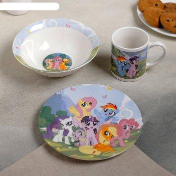 Набор посуды my little pony, 3 предмета: кружка 240 мл, миска 18 см, тарел