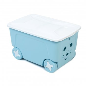 Детский ящик для игрушек cool на колесах 50 литров   , цвет голубой