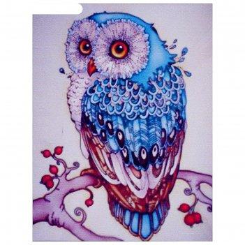 Алмазная мозаика сапфировая сова 20х27 см, 26 цветов