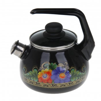 Чайник со свистком 2 л вологда, цвет черный