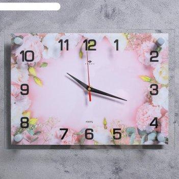 Часы настенные розовые цветы 25х35 см, аа, плавный ход