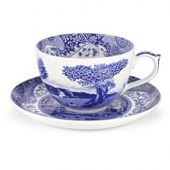 Чашка для завтрака с блюдцем 560мл голубая италия