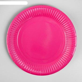 Тарелка бумажная однотонная, 18 см, набор 6 шт., цвет малиновый