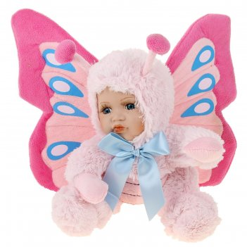 Кукла коллекционная керамика малыш в костюме бабочки сидит 22,5 см