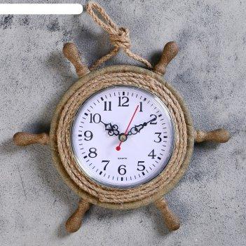 Часы настенные штурвал, d=22 см, по кругу канат из бечёвки, коричневые