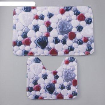 Набор ковриков для ванны и туалета доляна «цветная галька», 2 шт: 40x50, 5