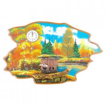 Часы с картиной медведь с рыбой осень 50х32 см
