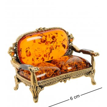 Am-1929 фигурка стул софа (латунь, янтарь)