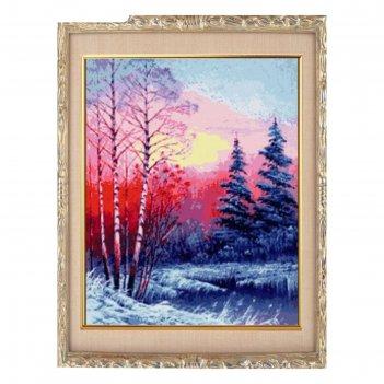 Алмазная мозаика закат в зимнем лесу, 24 цвета, без рамки