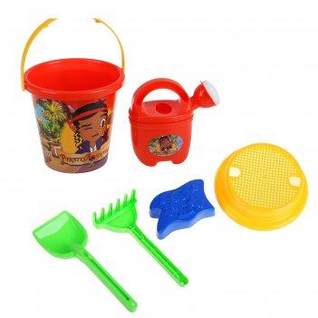 Набор песочный пираты: ведерко, сито, лейка, формочка, грабельки, лопатка