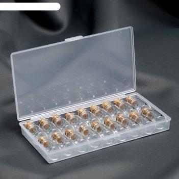 Набор баночек для хранения мелочей, d=1,5 х 2см, 18шт, цвет коричневый