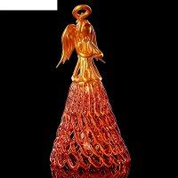 Колокольчик сувенирный «хрустальный ангел», ручной работы, оранжево-золото