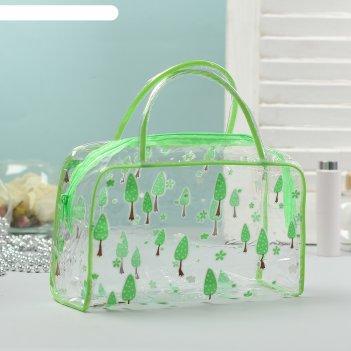 Косметичка-сумочка банная лес 2 ручки, зеленый