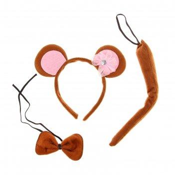 Карнавальный набор обезьянка 3 предмета: ободок, хвост, бабочка