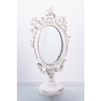 Зеркало настольное белоснежные узоры 16*10*32см