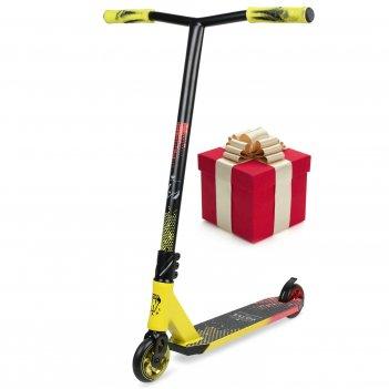 Самокат трюковый vokul bzit k1 pro scooter (желтый/черный/красный)
