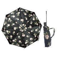 Зонт 23, полный автомат, атласный (розы на черном фоне)