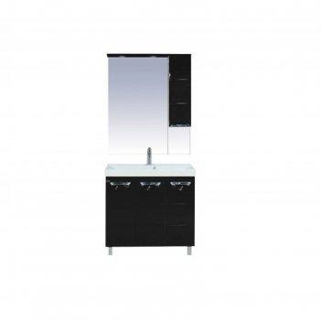 Шкаф-зеркало misty петра 75, правый, с подсветкой, черная эмаль