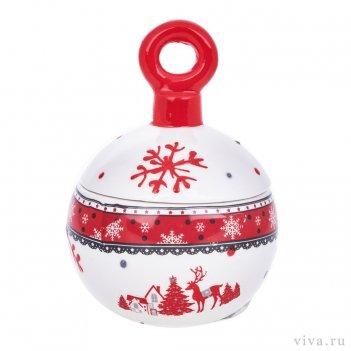 Вазочка с крышкой «новогодний шар»