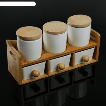 Набор банок для сыпучих продуктов 200 мл эстет, 6 шт, на деревянной подста