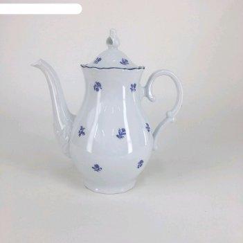 Кофейник 1.2 л с крышкой, офелия, декор мелкие синие цветы