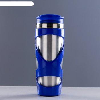Кружка-термос 450мл, прямая с витой лентой, микс 7,5*21см