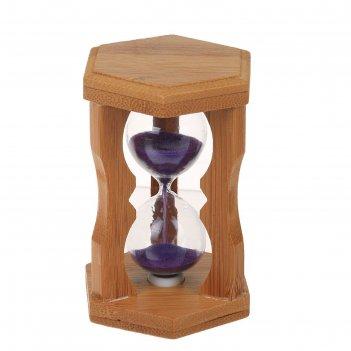 Часы песочные стебель бамбука, 10.5х6.5х6.5 см, микс
