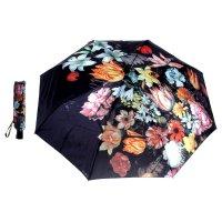 Зонт женский flioraj натюрморт цветы, 3 сложения, суперавтомат, сатин