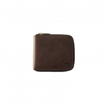 Кошелёк на молнии 11x2x9.5 см, цвет коричневый