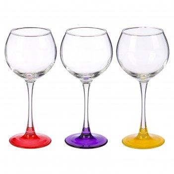 Набор бокалов для вина 3 шт 280 мл эдем лак микс