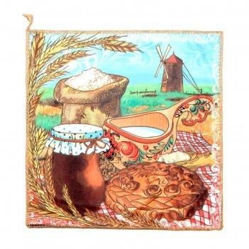Полотенце микрофибра collorista деревенский натюрморт, 30х30 см, 200 гр/м2